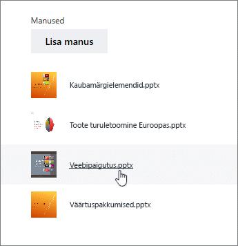 Valige dokumendi üksikasjad loendist manus
