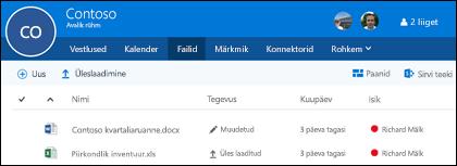 Oma Office 365 rühmas talletatavate failide ja kaustade kuvamiseks klõpsake rühmas nuppu Failid.