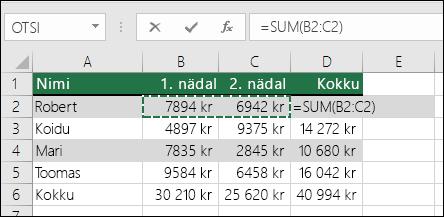 Lahtris D2 on näidatud automaatsumma valem: =SUM(B2:C2)