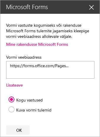 Olemasoleva vormi Microsoft Formsi veebiosa paan.