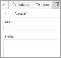 Windows Mobile tabeli asetekst