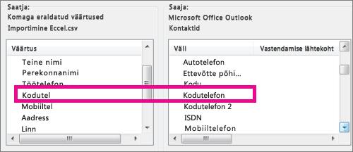 Impordifaili Väljade vastendamine väljad Outlookis