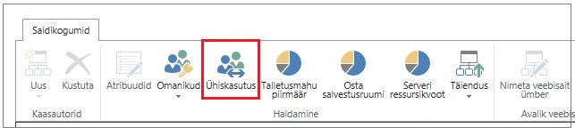 SharePoint Online'i administreerimiskeskuse lint koos ühiskasutusega nupuga on esile tõstetud