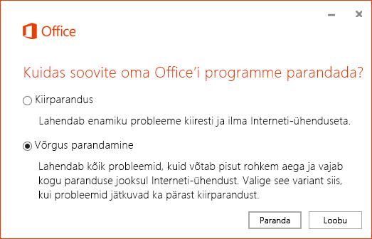 Office'i parandamise dialoogiboks OneDrive for Businessi sünkroonimisrakenduse parandamise ajal