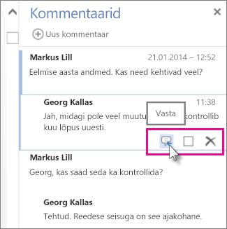 Käskluse Vasta pilt veebirakenduse Word Web App kommentaaride paani kommentaari all.