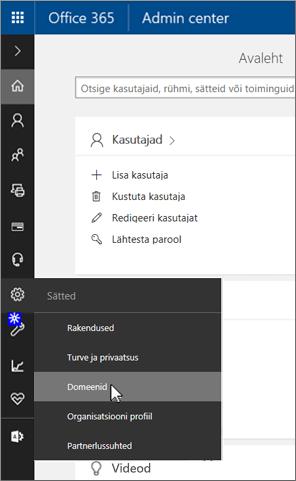 Valiku Domeenid klõpsamine lehel Office 365 haldus
