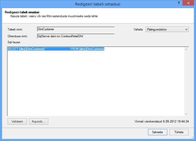 SQL-päringu abil vaikimisi, lühemaks süntaks