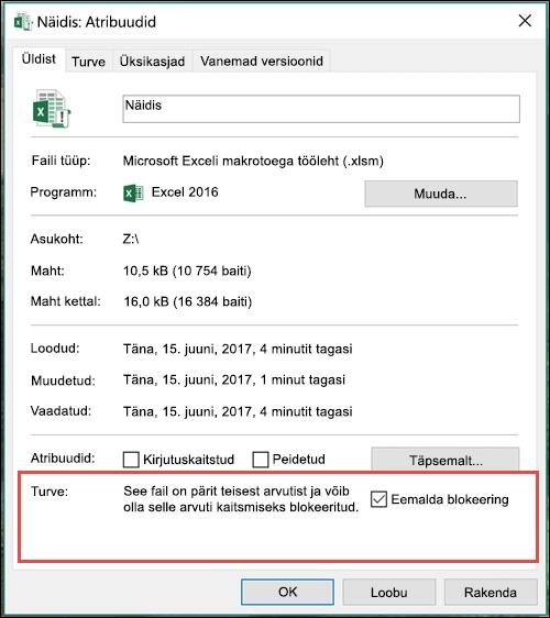 Tehke makrode lukust avamiseks WIndows Exploreris failile paremklõps.