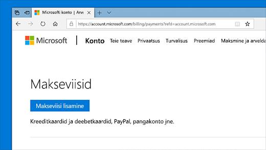 Microsofti konto makseviiside muutmine