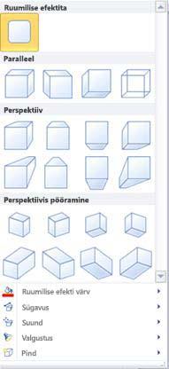 WordArt-objektide ruumiliste efektide suvandid rakenduses Publisher 2010
