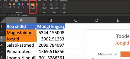 Toimingupliiatsi näitamine Excel