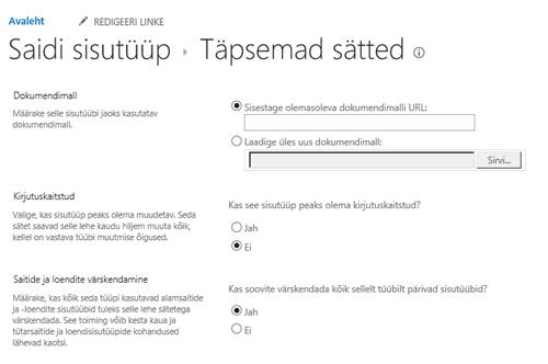 Sisestage saidi sisutüübi dokumendimalli URL: lehel Täpsemad sätted