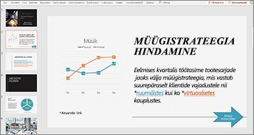 Esitlus slaidiga, kus on diagramm ja kahe hüperlingiga tekst