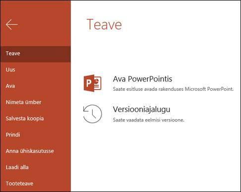 Menüü teave Office Online, kus on kuvatud üksuse versiooniajalugu.