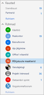 Vasakpoolne navigeerimisriba Office 365 Outlookis