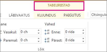 Pilt kontekstimenüüst Tabeliriistad, mis kuvatakse lindi kohal siis, kui olete klõpsanud tabelit.