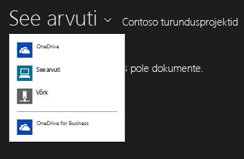 Muus rakenduses OneDrive for Businessi valimine