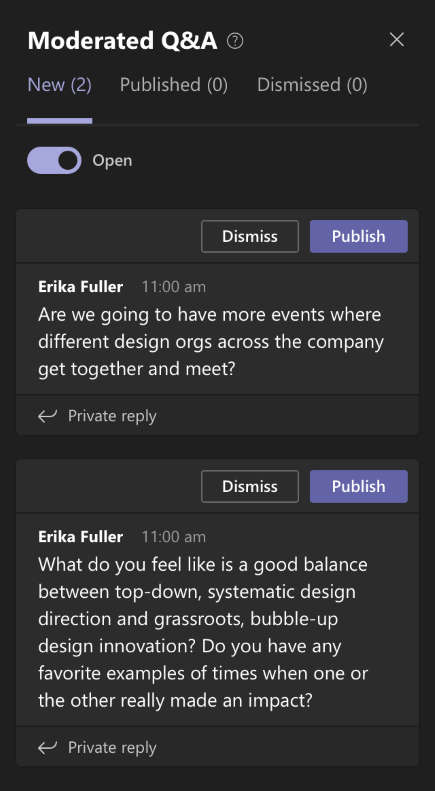 Q&A küsimus menüü