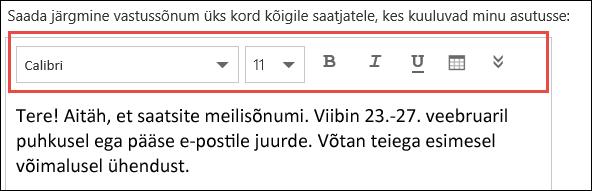 Outlooki veebirakenduse automaatvastuste sõnum