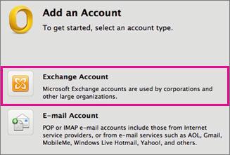 Tööriistad > Kontod > Exchange'i konto