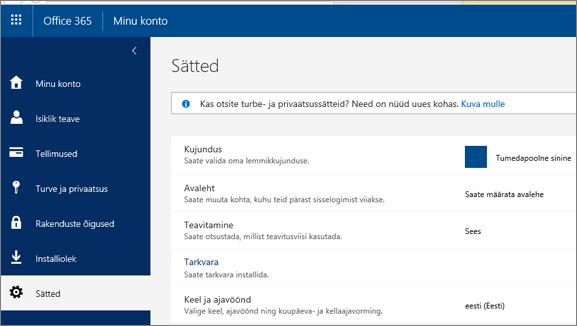 Office 365 sätete leht