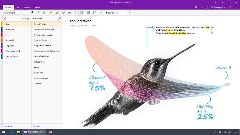 Windows 10 jaoks loodud OneNote'i kuvatõmmis