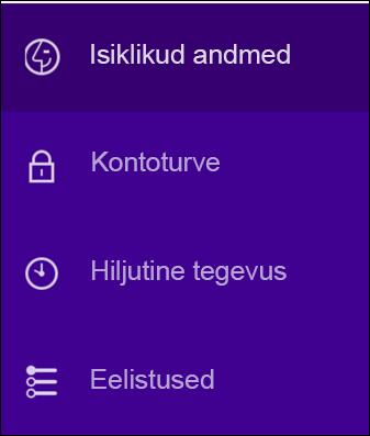 Yahoo konto turbesätete muutmine