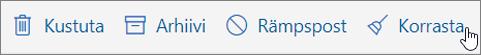 Kuvatõmmis kuvatakse valitud tööriistaribal e-posti suvandit korrastamine.