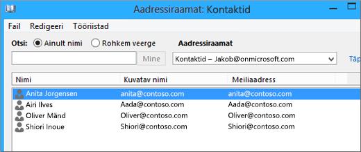 Kui kontaktid on Google Gmailist teenusekomplekti Office 365 imporditud, kuvatakse kontaktide loend aadressiraamatus. Kontaktid