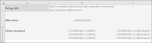 Funktsiooni FILTERXML näide