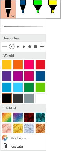 Tindipliiatsi värvi- ja jämedussuvandid Office'i menüü Joonista pliiatsigaleriis