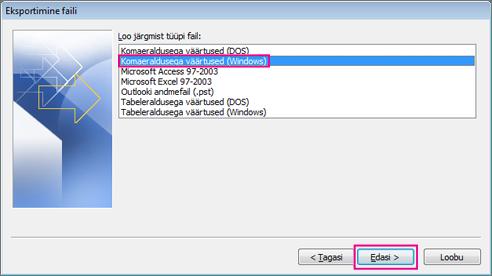 Valige suvand Komaeraldusega väärtused (Windows)