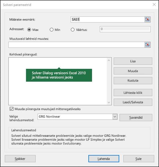 Excel 2010+ Solveri dialoogiboksi pilt