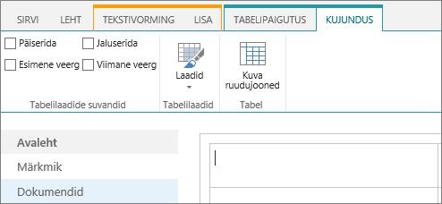 SharePoint Online'i lindi kuvatõmmis. Märkige ruut päiserida, jaluserida, esimene veerg ja viimane veerg tabelis ning valige tabelilaadide ja näitavad, kui kasutatakse Tabeli ruudujoonte kujundus abil.