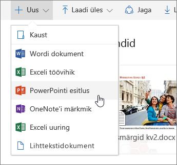 Kuvatõmmis, kus on näidatud, kuidas OneDrive'is faili või kausta luua