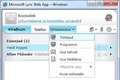 Lync Web Appi menüü Ühiskasutus