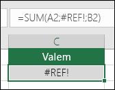 Excel kuvab veaväärtuse #REF! juhul, kui lahtriviide on sobimatu