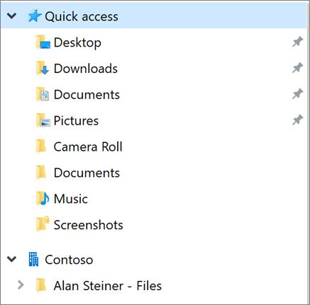 Teise kasutaja OneDrive File Exploreri vasakpoolsel paanil