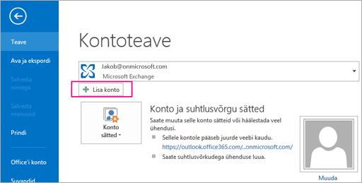 """Gmaili konto lisamiseks Outlooki klõpsake nuppu """"Lisa konto"""""""