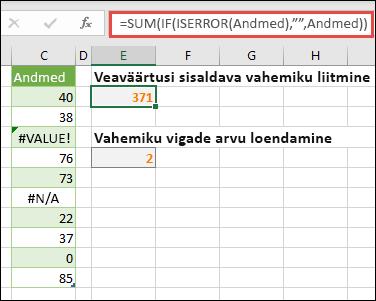 """Massiivide abil saate vigadega tegeleda. Näiteks =SUM(IF(ISERROR(Data),"""""""""""";Data) summeerib vahemiku nimega Andmed isegi siis, kui see sisaldab tõrkeid, näiteks #VALUE! või #NA!."""