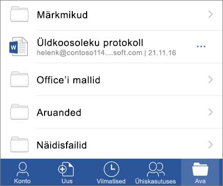 Word Mobile'i rakendus iOS-i dokumentide avamine