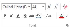 Jaotise Font suvandid