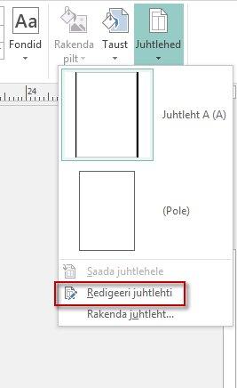 Juhtlehtede redigeerimine rakenduses Publisher 2013.