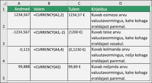 Funktsiooni DOLLAR näited