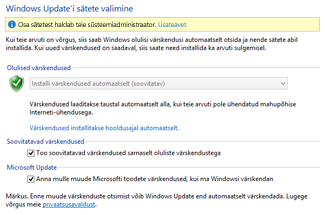 Windows 8 Windows Update'i sätete Juhtpaneel