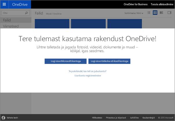 Tere tulemast kasutama OneDrive'i, kus saate faile talletada, sünkroonida ja teistega ühiselt kasutada