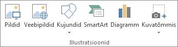 Exceli menüü Lisa jaotis Illustratsioonid.