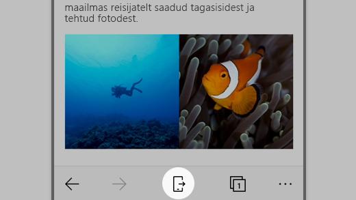 Kuvatõmmis Microsoft Edge'is iOS-is, ikoon Jätkake PC-s on esile tõstetud.
