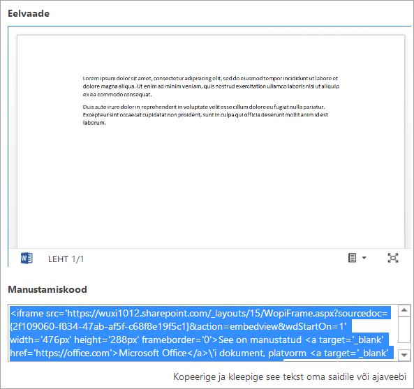 Office'i dokumendi manustamiskoodi kopeerimine