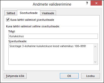 Sisestusteate sätted dialoogiboksis Andmete valideerimine